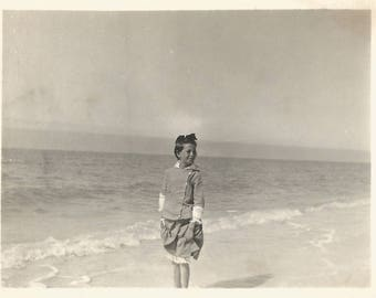 "Vintage Photo ""At The Beach"" Young Girl At Ocean's Edge Surf Waves Horizon Found Vernacular Photo"