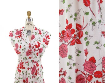 1940s Dress // Pink Rose Print with Red Leaves Cotton Rayon Blend Dress