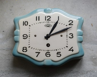 Vintage French Wall Clock // Ceramic Mechanical Wind Up Clock // French Country