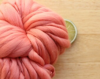 Coral Cuite - Handspun Wool Yarn Blush Peach Thick and Thin Skein