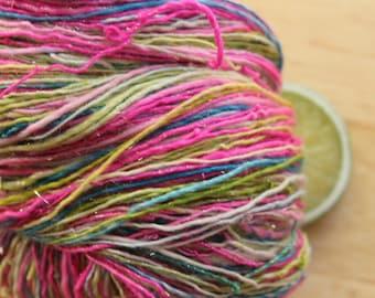Pink Cupcake - Handspun Merino Wool Yarn Sparkle Pink Green Blue