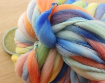 Roughly Rainbow - Handspun Wool Yarn Mint Peach Blue Thick and Thin Skein