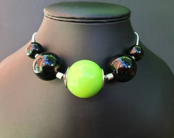Chunky Necklace with Green & Black Beads