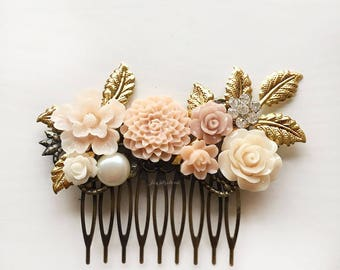 Bridal Comb, Hair Accessories, Wedding, Gold, Blush, Peach, Pink, Champagne, Floral Headpiece, Hair Slide, Bride, Bridesmaids, Customised