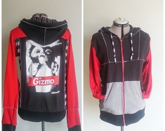 Upcycled 80's movie Gizmo Gremlins  Patchwork Hoodie