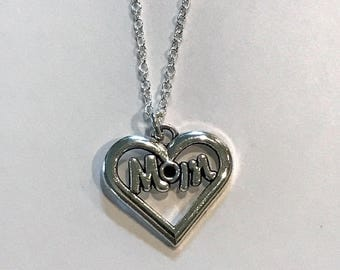 Mom Heart Necklace - Mom Gift - Mother's Day - Birthday - Swarovski Crystal