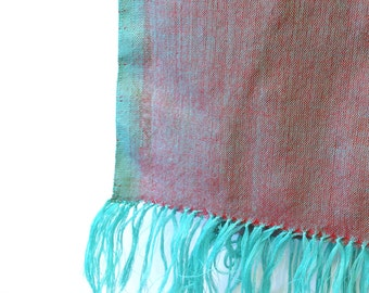 Light green and red scarf, handwoven in Ethiopia