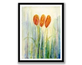 Tulips Flowers Watercolor Painting – Original Watercolor painting, Unmounted, Wall art, desk art, Flower Paintings,  Abstract watercolor