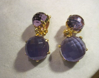 Vintage Purple Lucite Dangle Clip On Earrings