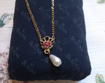 1928 Rose with Pearl Drop Lavalier
