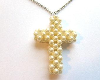 Vintage Handcrafted Pearl Cross, Crocheted Pearl Cross & Silvertone Neck Chain, Pearl Cross Pendant Necklace, Pearl Cross, Vintage Cross