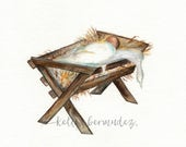 Baby Jesus / Manger / Watercolor / Printable Art / Printable Watercolor / Instant Download