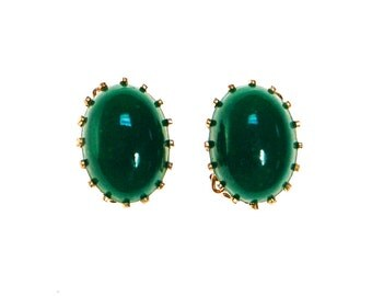 Emerald Green Earrings, Oval Clip On, Made In Japan
