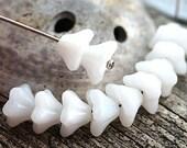 White Trumpet flower beads, Czech glass, Alabaster white bells, 5 star flower, white glass beads, 6x9mm - 20Pc - 0853