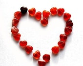 ON SALE Glass hearts, red heart beads, czech glass, mixed red hearts, pressed beads, small hearts - 6mm - 50Pc - 0145