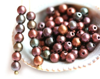 4mm Matte Metallic Beads mix, Copper Purple Green Czech glass beads, round spacers, druk, small beads - about 90pc - 1964