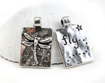 5pc Dragonfly Pendants, Antique Silver Tibetan Style Alloy dragonfly rectangle charms, word FLY, double sided - 1348