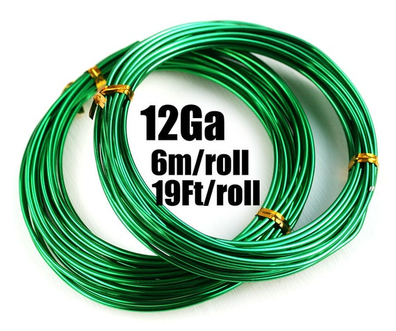 12 Gauge wire, 2mm thick Green Aluminum Craft Wire, Bright Green ...