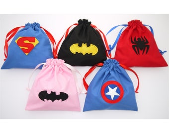 Superhero Party Bags personalised Batman, Spiderman, Captain America, Superman, Batgirl Boys Girls Birthday Fabric drawstring party bags