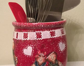 Red Gingerbread Utensil Holder...Kitchen Decor...Country Kitchen.Country Home...Housewarming Gift.Home Decor..Gingerbread Kitchen . Ginger