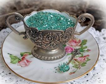 Reneabouquets Shard Glitter Glass ~ Vintage Teal Medium Grit German Glitter Glass shards measuring from .8-1.2mm