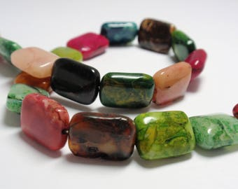 """African Opal Dyed Rectangle Beads, 10x14mm African Opal Gemstone Beads, 12 1/4"""" Stand - 22 Beads"""