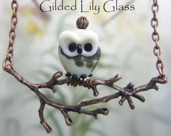 Owl on a Limb Pendant, Torchwork Glass Jewelry Handcrafted in North Carolina