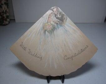 1920's-30's art deco die cut Rust Craft fan shaped wedding card handsome groom pretty bride with elaborate wedding dress veil