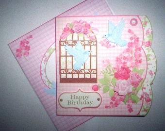 Handmade birdcage & roses birthday card.