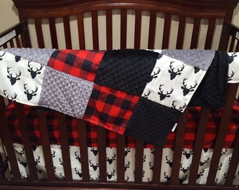 Baby Boy Crib Bedding - Buck Deer, Lodge Red Buffalo Check, and Gray Crib Bedding Ensemble with Patchwork Blanket
