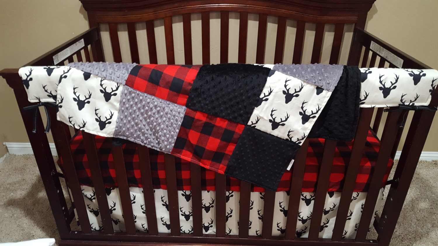 Baby Boy Crib Bedding Buck Deer Lodge Red Buffalo Check