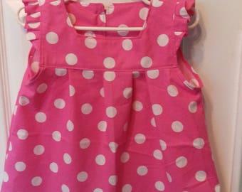 2T Lovely Vintage Style Pink Polka Dot Dress