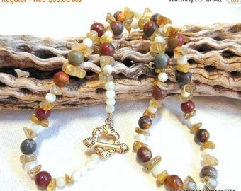 Holiday Sale Picasso jasper necklace, rutilated quartz, mother of pearl, heart toggle