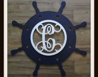 """Ships Wheel Door Hanger with Letter - Painted Wood - 22"""" size - Wooden Letter Decor - Wood Letter - Wall Hanging - Monogram -Nautical - Helm"""