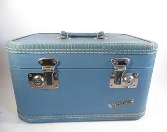 Vintage Blue Monarch Suitcase Train Case - Retro Blue Monarch Make Up Case