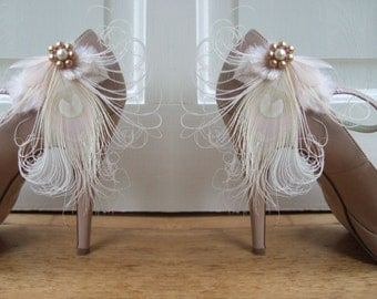 "Bridal Peacock Feathers Champagne Cream Shoe Clips / Bag Clips ""Allana"" (Pair) - Gatsby Party - Bride Bridesmaid Mother of the Bride"