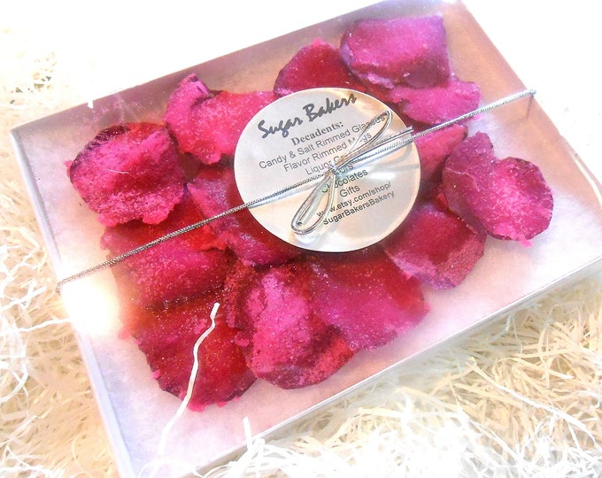 CANDIED ROSE PETALS, Candied Flowers, Crystallized, Long Lasting, Edible, Weddings, Cupcake Toppers