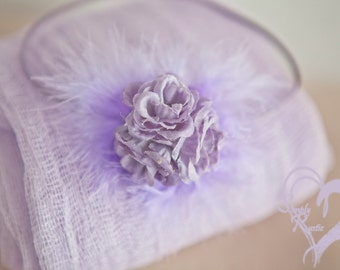 2 item set Sheer Elegance Feathered Color Choice Lavender or Pinks Newborn Swaddle w Beautiful Roses Headband Cheesecloth Super Sheer
