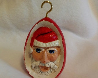 Santa Claus Ornament Hand Carved Basswood Christmas