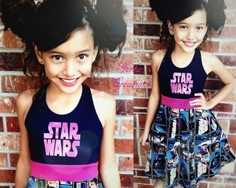 STAR WARS Dress, Girls Dress, Blue Pink Dress, Star Wars, Aurora Dress, Princess Leia, Luke Skywalker, Han Solo,  - Available 2y - 12y