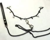 Nipple Barbells with Heart Shields Black chain black crystals silver bells chain leash