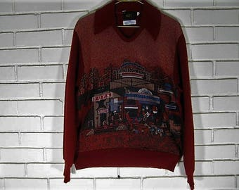 70's '' Western '' pullover sweater size M