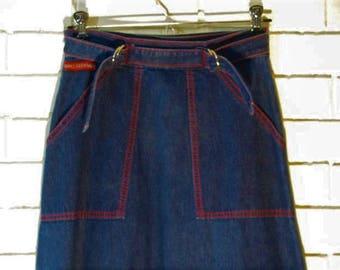 70's short denim wrap skirt with red top stitching by Gino Ferrari waist size 26''