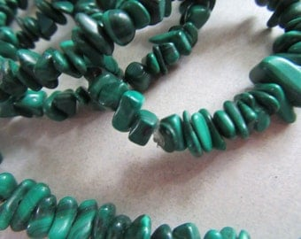 "Genuine Malachite Gemstone Chip Necklace Green Stone Beads Destash  36"" Long Jewelry Making Beads for Earrings Jeweler Supplies Metaphysical"