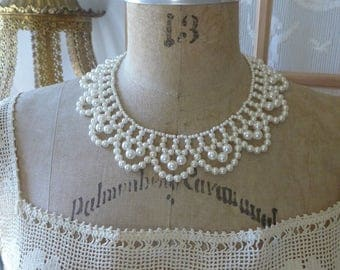 Vintage Pearl Choker Collar Necklace Adjustable 80s Faux Pearl Necklace White