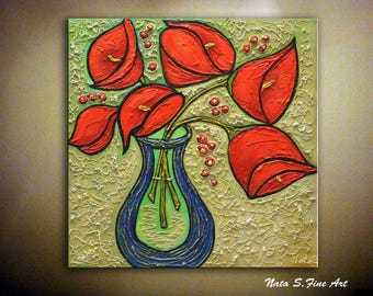 Calla Lilies Painting, Original Abstract Painting, Textured Lilies Artwork, Red Bouquet Painting, Modern Wall Art, Floral Artwork by Nata S.