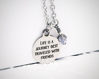 Best Friend Jewelry - BFF Necklace - Life is a Journey - Stainless Steel Necklace - Stainless Steel - Friendship Jewelry Gift