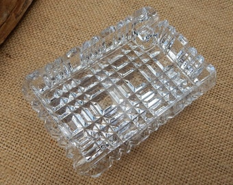 Crystal Rectangle Ashtray  ~  Crystal Ashtray  ~  Rectangle Ashtray  ~  Clear Cut Glass Ashtray