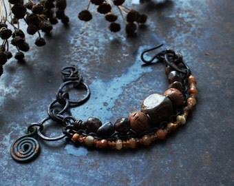 Brown charm bracelet, choose your charm: solarcross disc or spiral, rustic ceramic bracelet, celtic symbol bracelet, norse bracelet