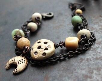 Crescent symbol bracelet, good luck and protection amulet bracelet, rustic ivory and verdigris bracelet, moon bracelet, chain bracelet